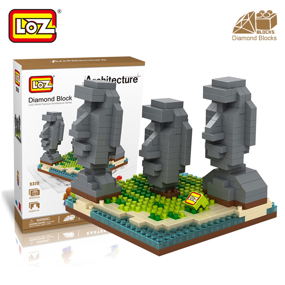 Mr.Froger LOZ Diamond Block Easter Island World Famous Architecture DIY Plastic Building Bricks Educational Toys For Children mr froger loz taipei 101 tower diamond block world famous architecture series minifigures building blocks classic toys children