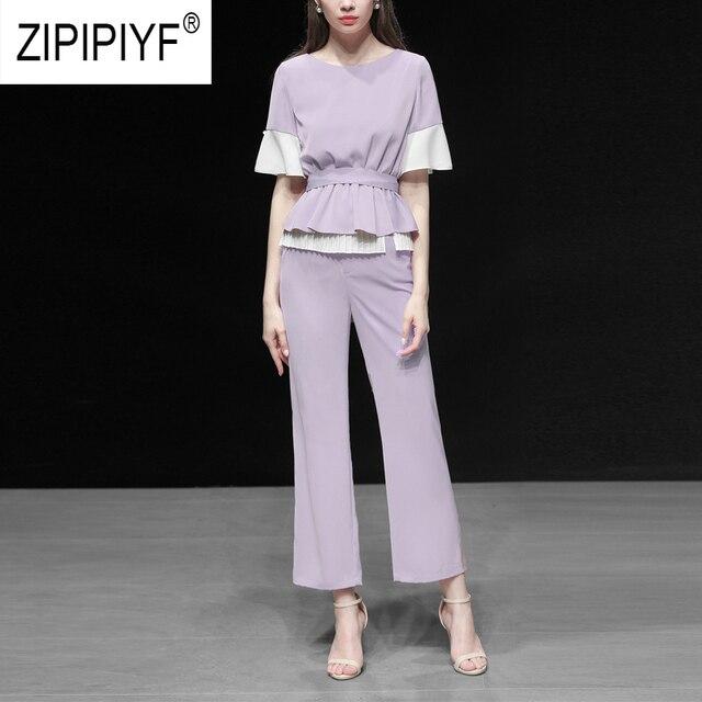 Unique Design Women Suits Color Block Short Sleeve O Neck Casual Layered Blouse Top Zipper Up Loose Long Casual Pants Z1149