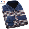 Langmeng 2017 New Arrival Mens Winter Long Sleeve Warm Dress Shirt Men Fashion Velvet Casual Shirts Camisa Masculina Plaid Shirt