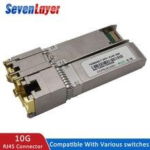 цена на sfp 10G+Base-T GBIC Gigabit port SFP RJ45 module code Sfp module Compatible with Mikrotik  various  switches ethernet module