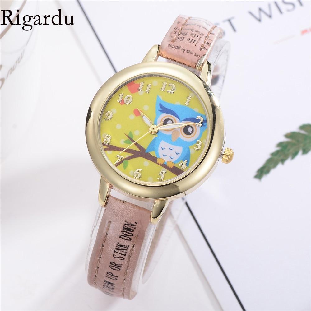 RIGARDU Fashion Ladies Watches Thin Strap Alloy Dial Watch Lovely Owl Wristwatch for Women Relogio Feminino #25