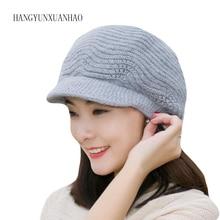 купить Winter Beret Women Warm Knitted Thicken Rabbit Fur Wool Beret Hat Ladies Beanie Hat Visor Newsboy Hat cap for Women по цене 449.41 рублей