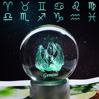 Crystal 12 Zodiac Sign Ball 3D Glass Constellation Globe LED Light Home Decoration Ornament Zodiac Charms Sphere 8CM