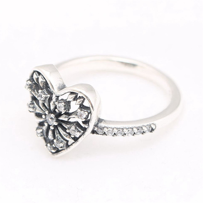 100 Original 925 Sterling Silver Trendy Love Heart of Winter Ring For Women Wedding Engagement Party Gift Fine Pans Jewelry in Engagement Rings from Jewelry Accessories