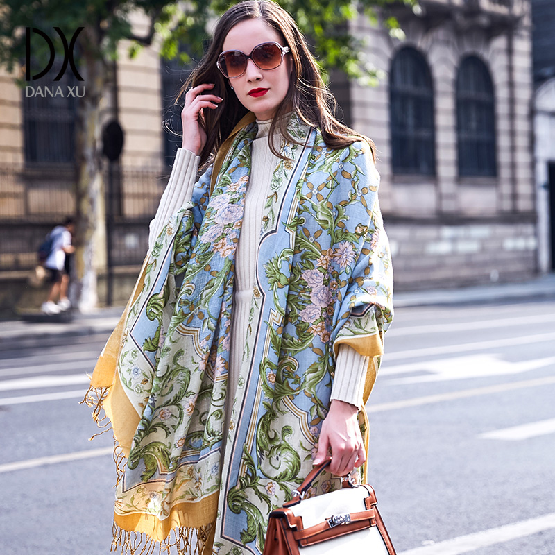 100% bufandas de cabeza cuadrada de lana para mujer elegante señora Carf y chal cálido largo estampado Animal Stoles Bandana bufanda Hijab playa manta - 3