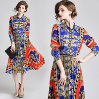 2018 long sleeve New Runway dress Designer Fashion Ladies Print Lapel plated Dress Printed Silk Dress 2PCS TOPS+BOTTOM