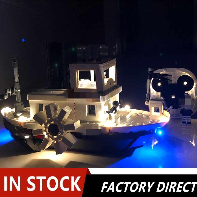 Movies Series DisneyING Steamboat Willie Set With Led Light Building Blocks Bricks Ideas Boy Toys Birthday Gifts