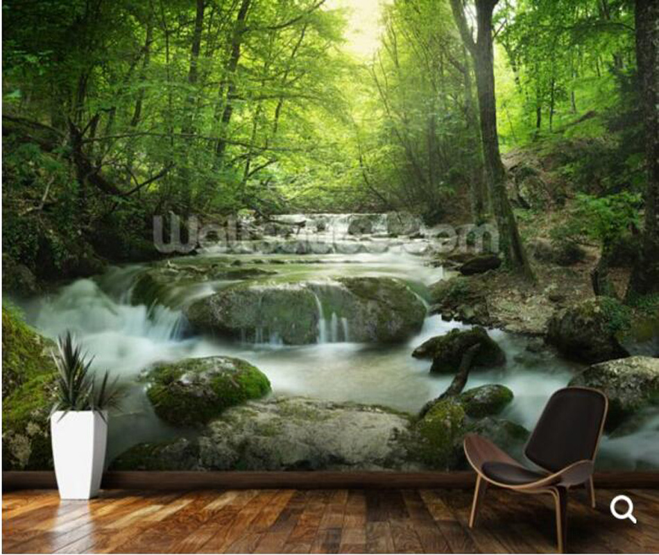 Custom natural landscape wallpaper,Enchanting Forest waterfall,3D photo mural for living room bedroom sofa background wallpape custom green forest trees natural landscape mural for living room bedroom tv backdrop of modern 3d vinyl wallpaper murals
