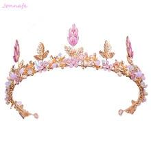 Jonnafe Baroque Gold Leaf Crown Women Prom Tiara Vintage Wedding Accessories Bridal Hair Jewelry Headpiece