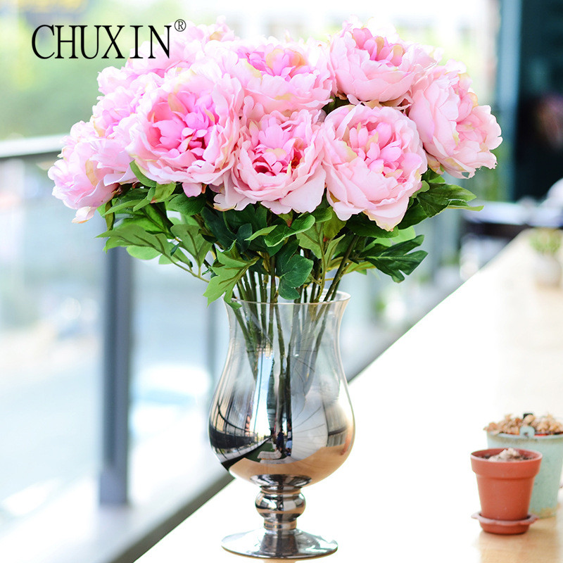 5 heads emperor silk peony artificial flowers european for Artificial plant decoration home