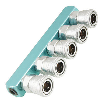 Silver Tone Sky Blue Piping Fitting 5 Way Air Hose Multi Pass Quick Coupler SML-5 цена