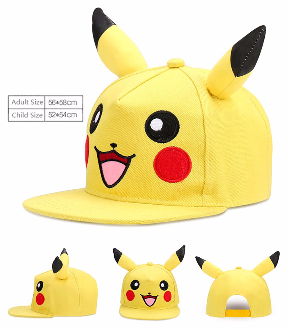 Men's Baseball Caps New Arrival Cosplay Anime Pokemon Hat Pocket Monster Pikachu Ash Hat Snapback Baseball Cap Costume Play Men&women Baseball Hat Selected Material Apparel Accessories