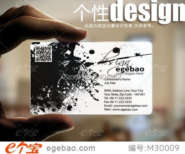 500 Pcs Lote Personnalisee De Cartes Visite Carte Transparent Blanc Encre
