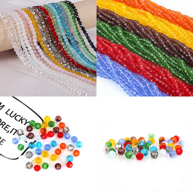Fashion 100pcs/lot 4mm Bicone Crystal Faceted Glass Beads Loose Spacer Beads bracelet Jewelry Making DIY Accessories