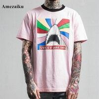 2017 인과 핑크 돌고래 인쇄 t 셔츠 남성 느슨한 t 셔츠 동물 t 셔츠 캐주얼 티 셔츠 팜므 csual 착용