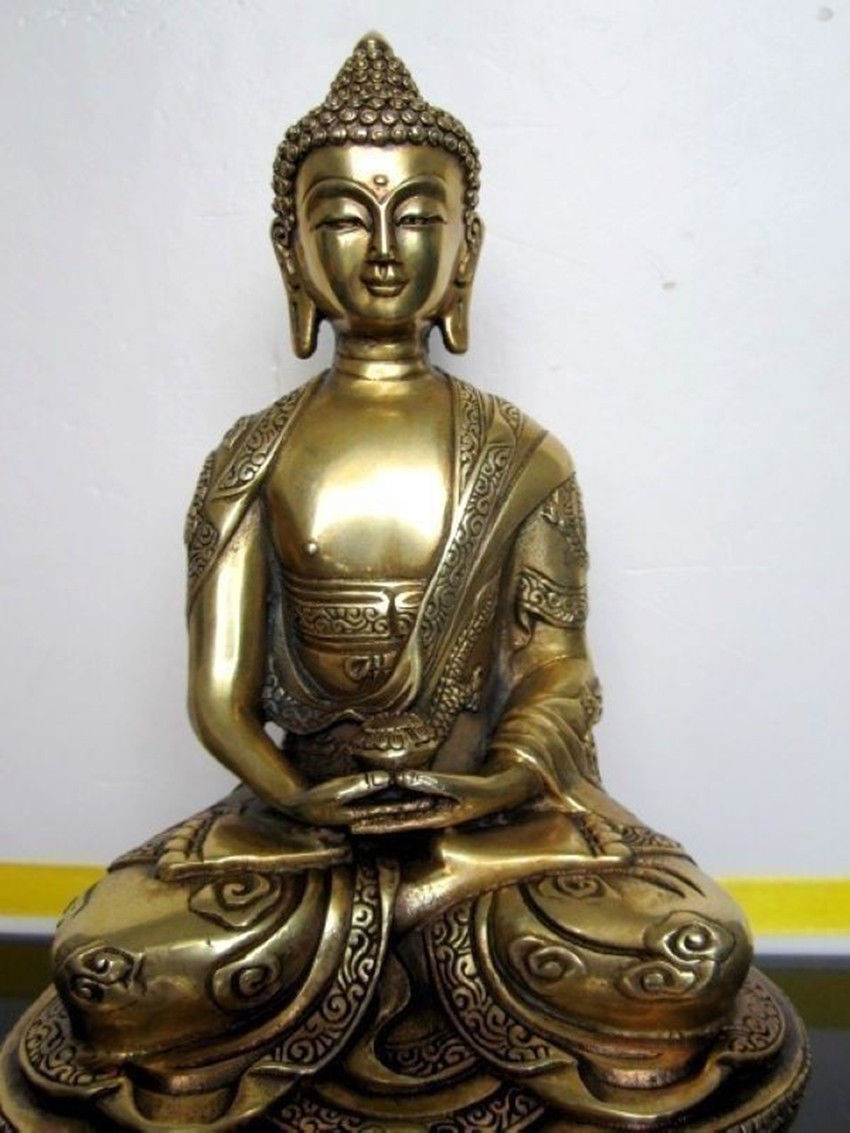 6tibet Handwork Carved buddhism temple brass lotus sakyamuni Tathagata Amitabha buddha statue metal handicraft6tibet Handwork Carved buddhism temple brass lotus sakyamuni Tathagata Amitabha buddha statue metal handicraft