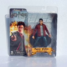 7 inch NECA Happy Harry Potter With Wand Red Jacker PVC Action Figure Toy retail RETAIL BOX WU590(China (Mainland))