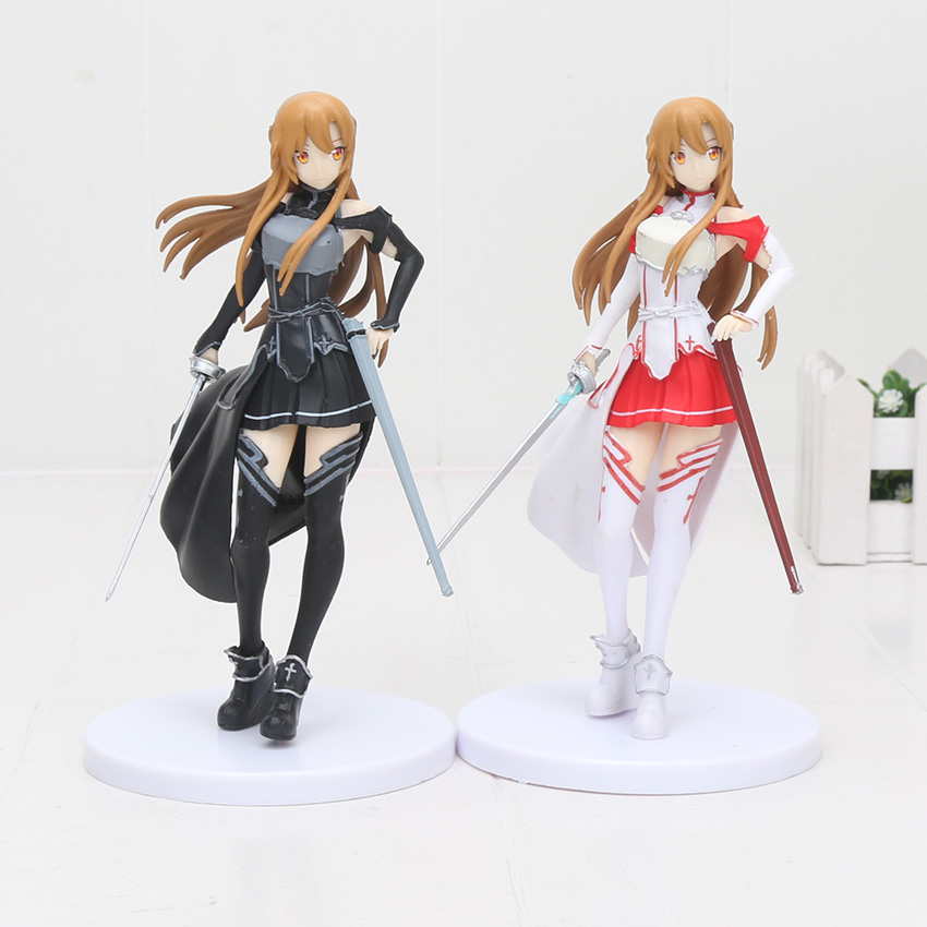 Anime SAO Sword Art Online Asuna Yuuki Kirito Collection Action Figure Model Toy 18cm