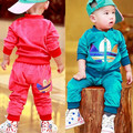 Male female child cartoon set 0 - 2 infant velvet baby twinset spring and autumn outerwear baby girl boy clothes