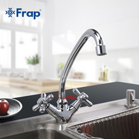 FRAP 1 Set Modern Style Deck Mounted Brass Solid Kitchen Faucet Chrome Finish Cold And Hot