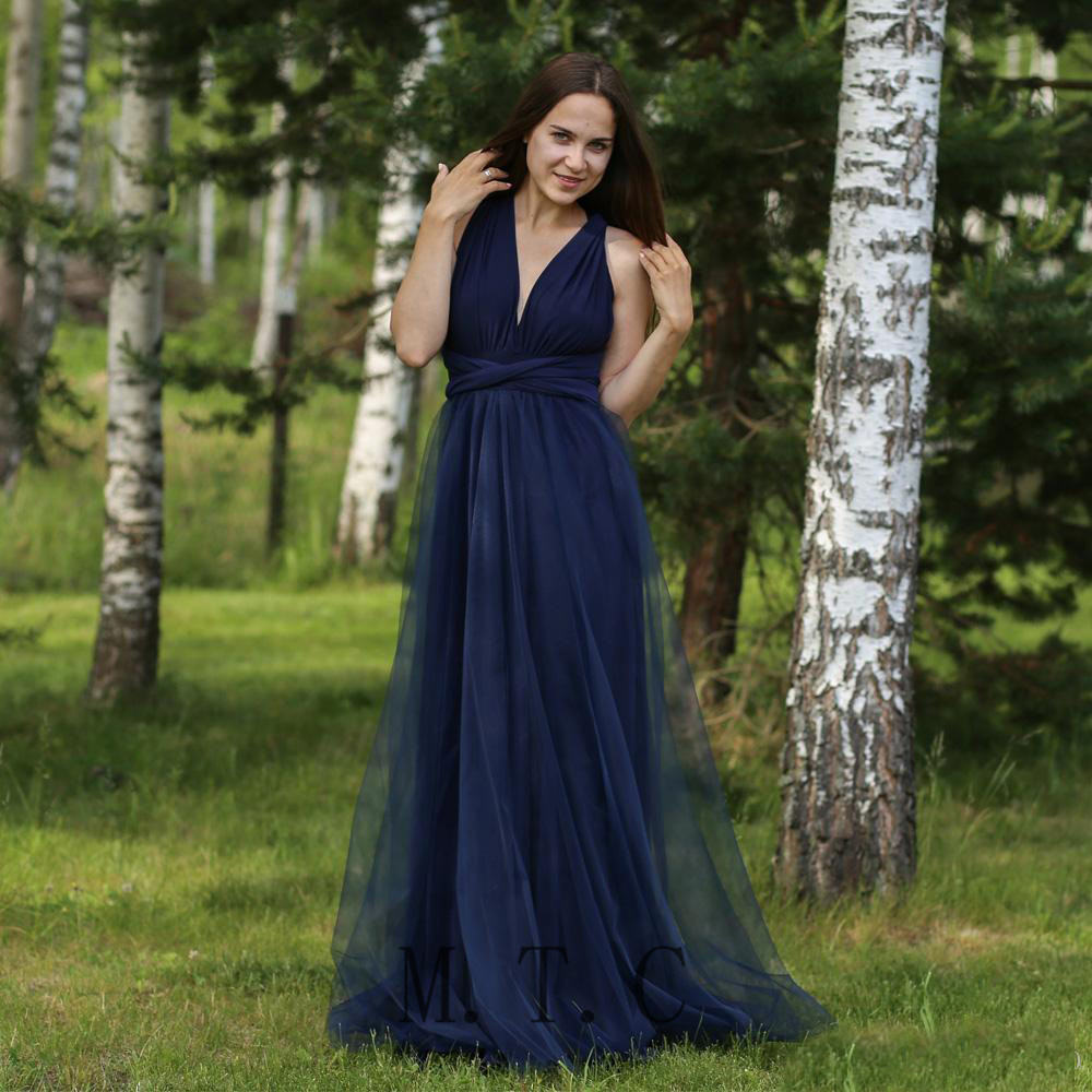 Elegant Navy Blue Tulle Long   Bridesmaid     Dresses   V Neck A Line Floor Length High Quality Wedding Party Women   Dress   2019 New
