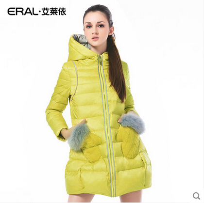 ERAL 2016 High Quality New Arrival Women Winter Coat Slim Long Hooded Down Jacket with Fur Glove Pockets Plus Size ERAL6016C