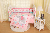 7PCS embroidery Good Quality Baby Bedding Set for Girls Crib,Cot Quilts Bumpers ropa de cuna (4bumper+bed cover+bed skirt+duvet)