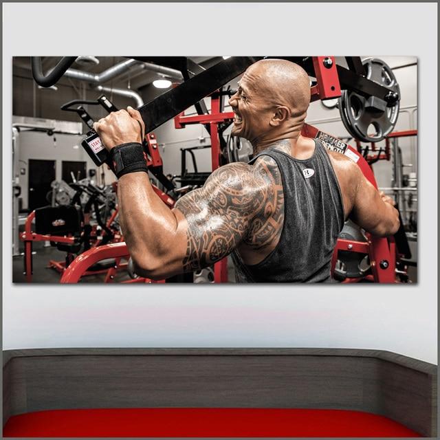 Wall art motivational bodybuilding dwayne johnson men oil