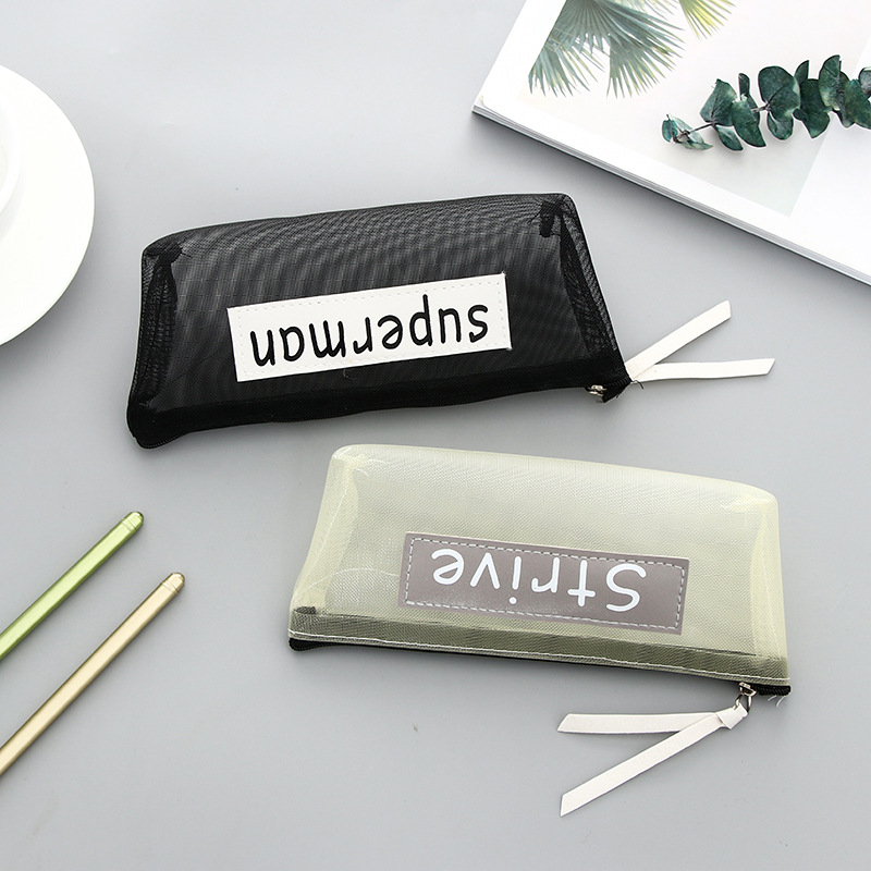 Transparent Mesh Pencil Case Simple Student Kids Pencil Bag Nylon Cosmetic Bag School Office Supplies Pen Box Stationery in Pencil Bags from Office School Supplies
