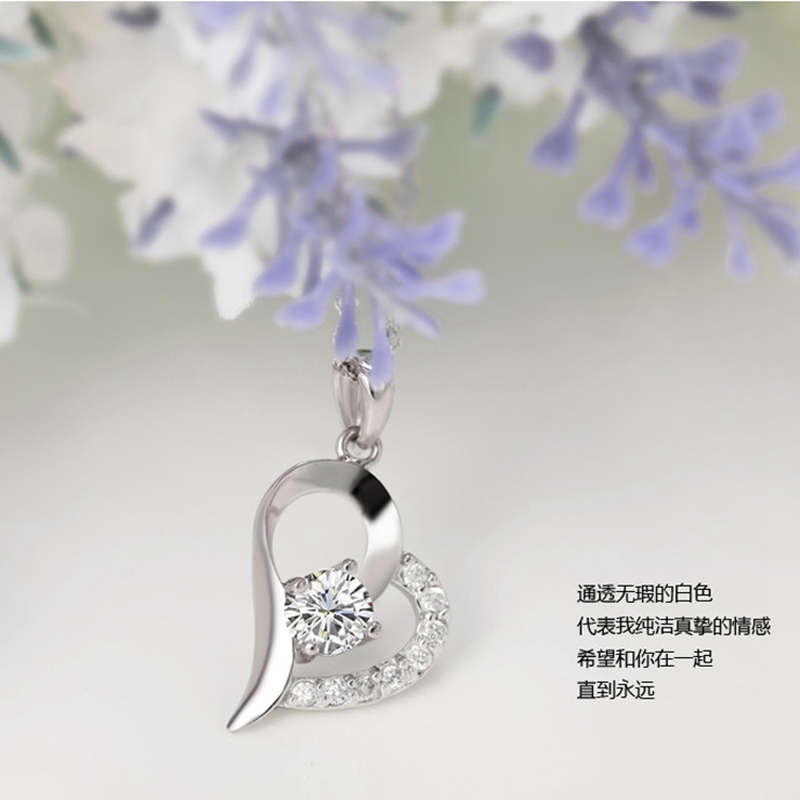 1 Pc Real 925 Pure Silver Romantic Trendy Style Woman Female Purple White Cubic Zirconia Heart Pendant Necklace Fashion Jewelry