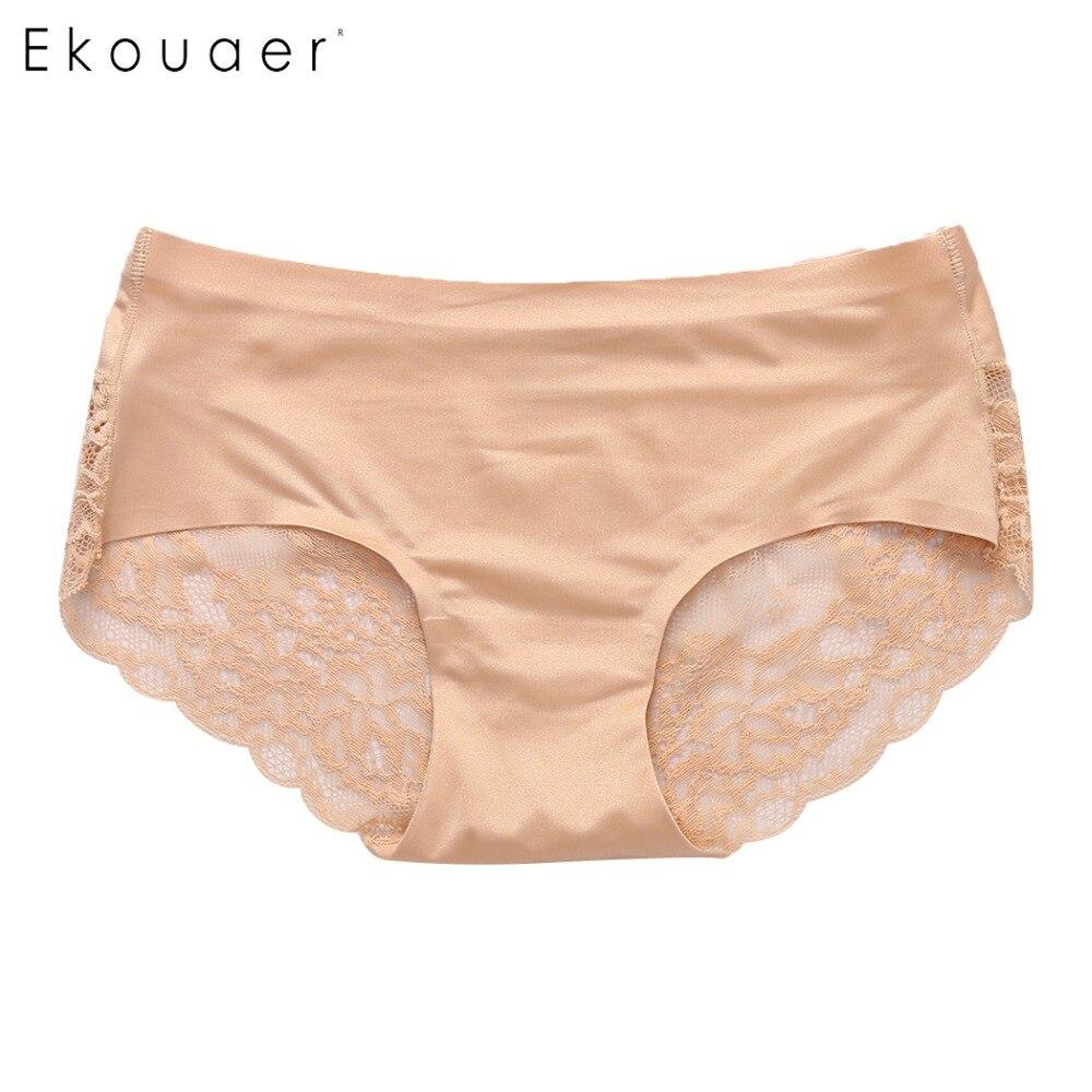 Ekouaer Women Lace Sexy   Panties   Luxury Seamless Solid Underwear Low Waist Woman Briefs Female Slim Breathable Female Underpants