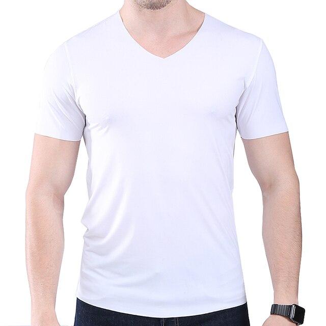 Thin Material Mens Slim V Neck T Shirt