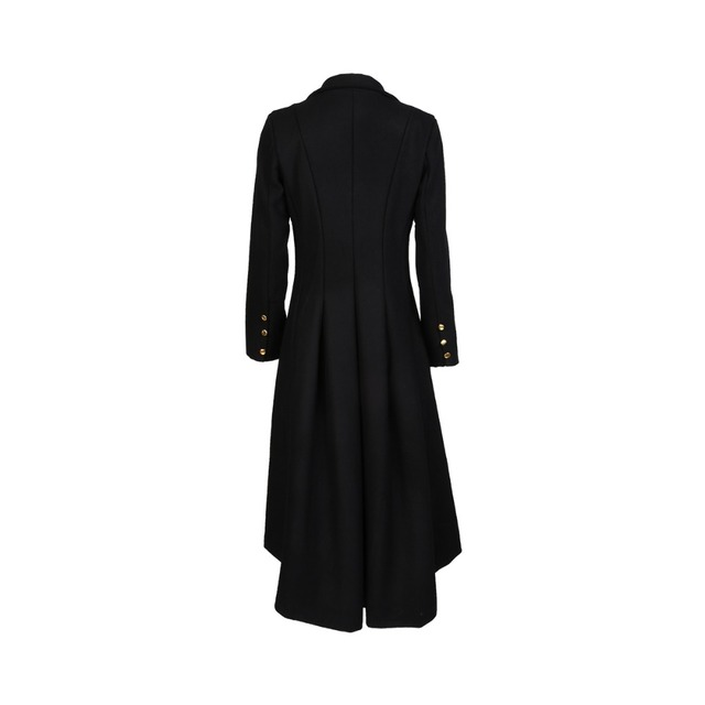 Autumn Winter Women Swallowtail Woolen Long Black Trench 4