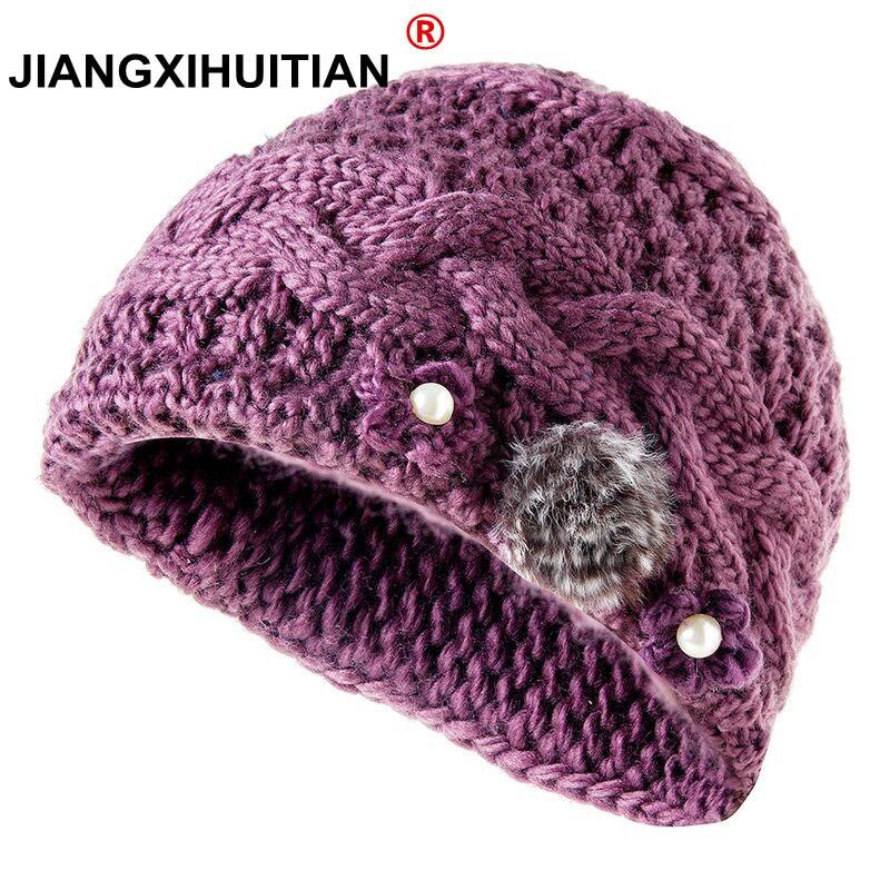 new Pearl Natural Rabbit hair Women's Winter Hats Girls Knitted Wool Rabbit Braid Caps Female Headgear Pompon Skullies Beanies