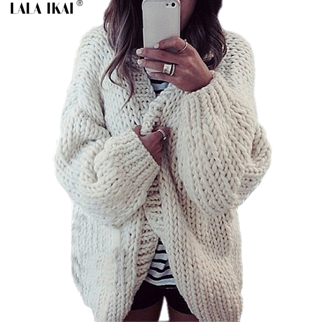 Winter Newest Women Thick Wool Long Cardigan Open Stitch Batwing ...