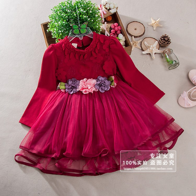 buy autumn red tulle princess girls dresses for wedding flower girl dress long. Black Bedroom Furniture Sets. Home Design Ideas