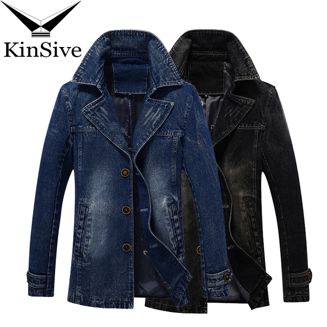 Trench Coat Men Autumn Fashion Denim Long Windbreaker Vintage Jacket Slim Fit Trench Coat Plus Size Men Clothing 2018 Overcoat