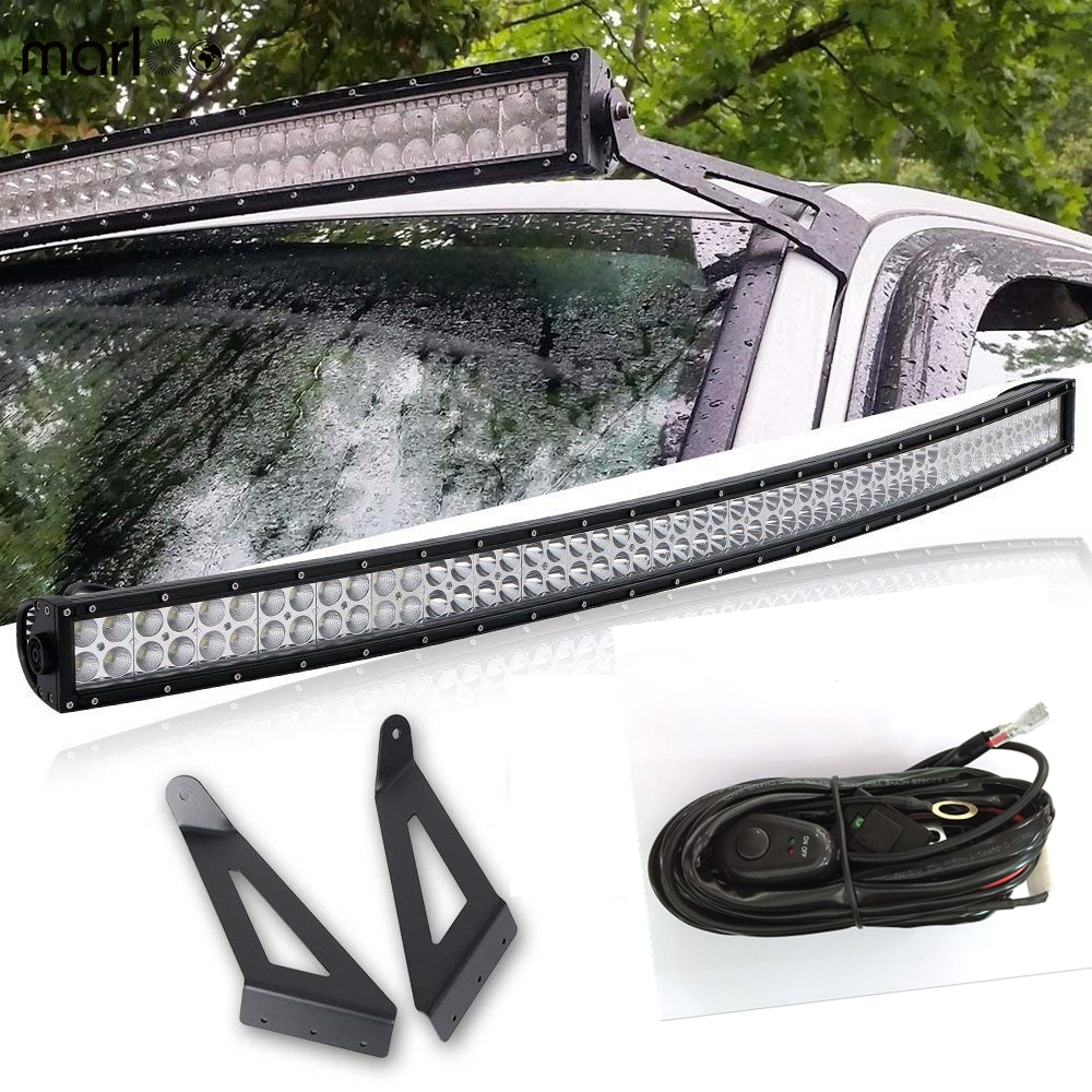 цена на Marloo 50inch 288W Curved LED Light Bar Offroad 12V Combo Beam With Car Roof Mounting Brackets For Jeep Cherokee XJ 1984-2001