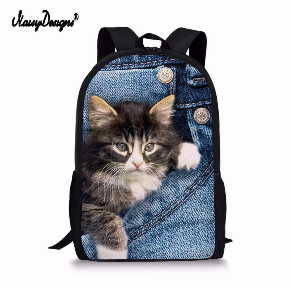 21dbd3ea5b Backpack Childrens School Bags for Teenage Girls Cute Denim Cat Dog  Schoolbags Kids Bookbag 3D Cartoon