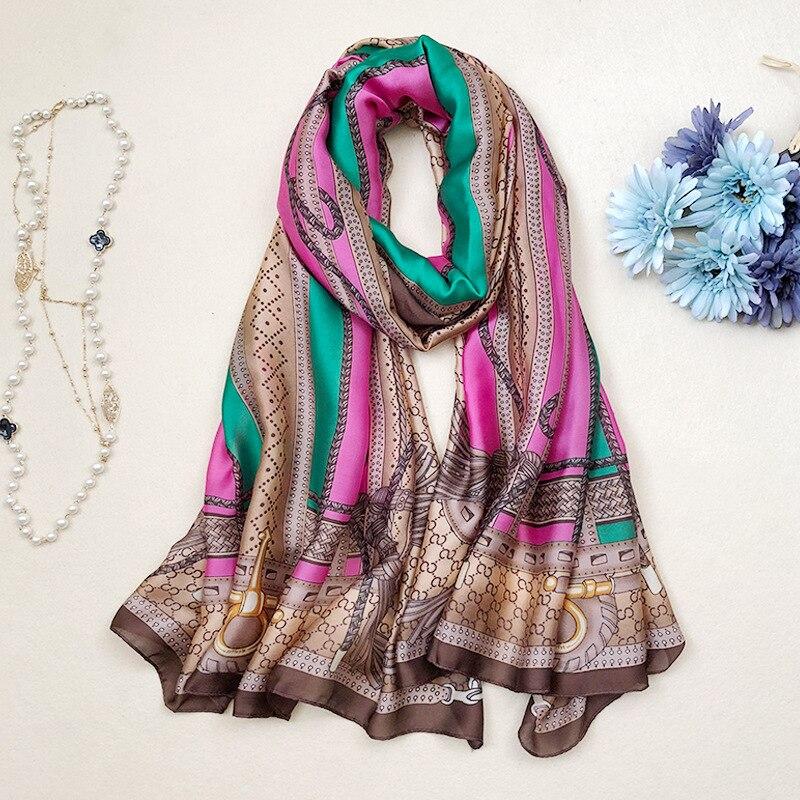 2018 luxury brand Women 100% Silk   scarf   Beach Shawl and Echarpe Hijab   Wrap   Designer   scarves   female beach stole bandana