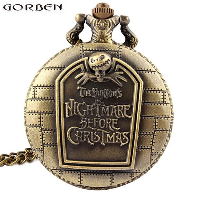 Antique Nightmare Before Christmas Tim Burton Pocket Watch Jack Skellington Bron