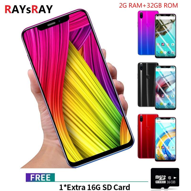 Raysray X21 3G téléphone portable 6.1 & quot 2 GB RAM 32 GB ROM Octa Core téléphone portable caméra Android 8.1 empreinte digitale téléphone intelligent