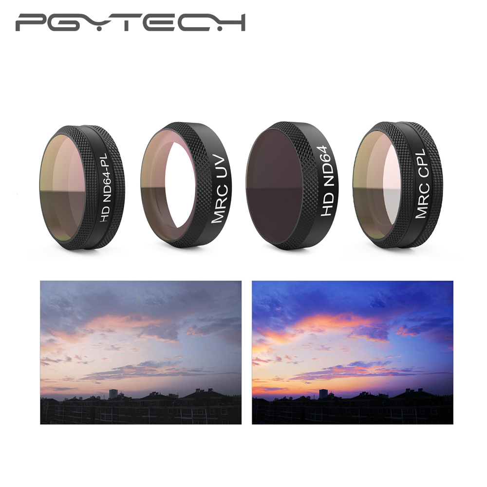 PGYTECH Air Filter For DJI Mavic Air MRC-UV ND64 ND64PL MRC-CPL Filter for DJI Mavic Air Camera Lens filter Drone Accessories pgytech mavic air filter for dji mavic air mrc uv nd64 nd64pl mrc cpl filter for dji mavic air camera lens filter accessory