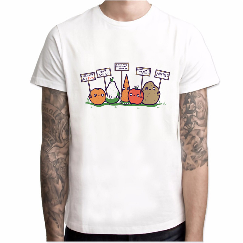 New T-shirt Men Fashion Men Brand T-shirt Funny Vegan Print Summer Hipster Vegetables <font><b>Protest</b></font> Design O-neck Harajuku men tops image