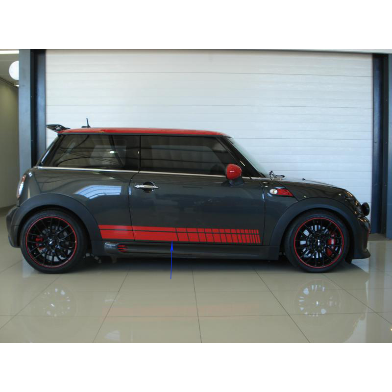 free shipping 2 PC side body quadrilateral stripes sports for john cooper works hatch /the new mini 3 door/mini convertible