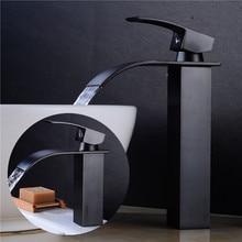 Basin faucet Black Oil Brushed Brass bathroom single handle  Luxury waterfall