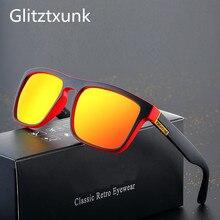 Glitztxunk Polarized Sunglasses Mens Retro Square Brand Designer Driving Shades Male Sun Glasses For Men Black Goggle Oculos