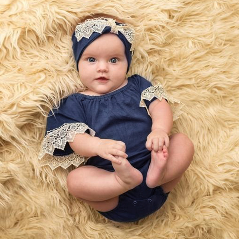 Lace Flying Sleeve Baby Clothing Newborn Girls Romper Jumpsuit Outfits Sunsuit Clothes 0-24M
