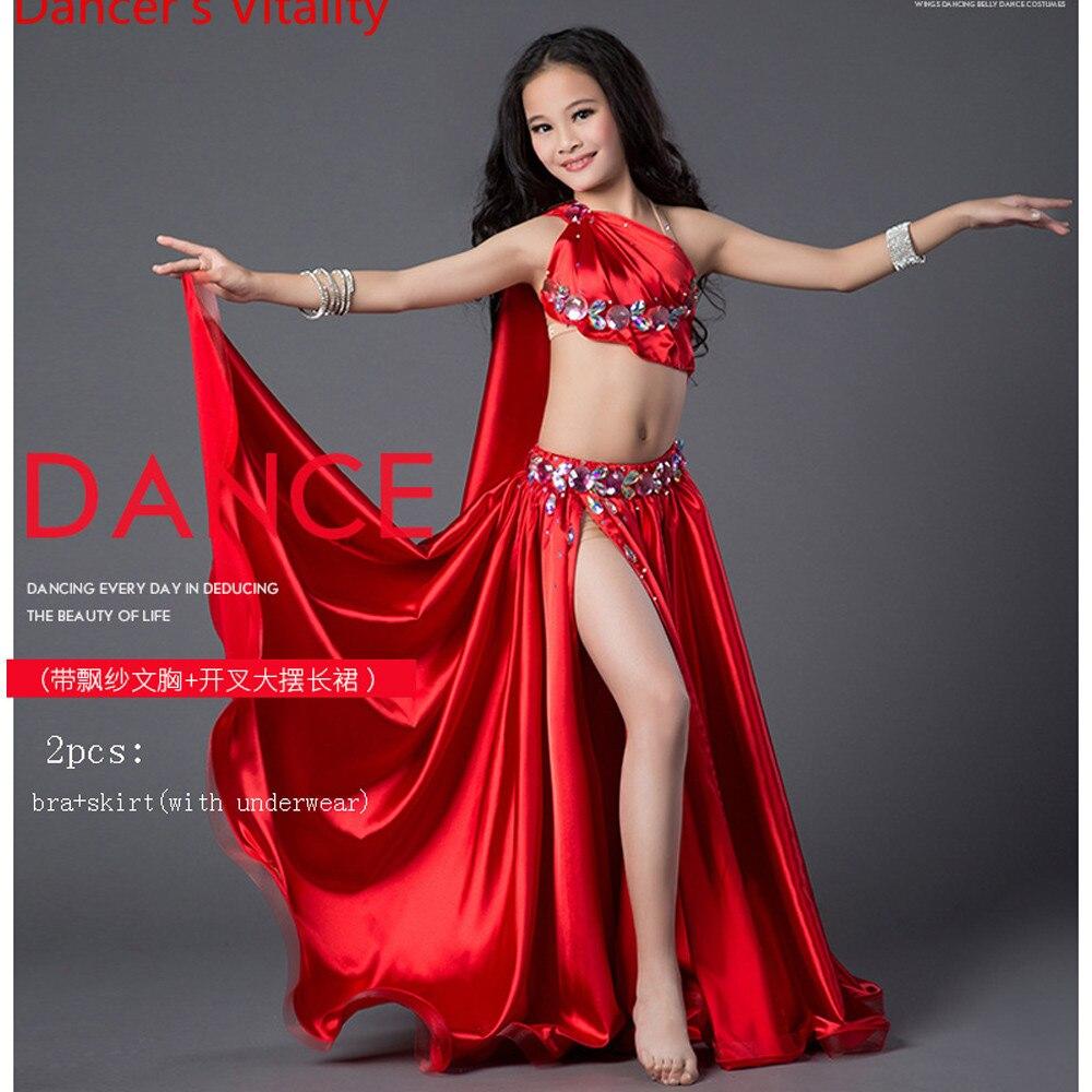 Luxury Spandex Dress Handmade Beaded Belly Dance Costume Girl 2 Piece Set For Children Internship Performance Skirt Red Green