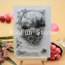 CS1163 Scrapbook DIY Photo Album Cards Transparent Acrylic Silicone Rubber Clear Stamps Sheet  11x16cm Garden Flowers